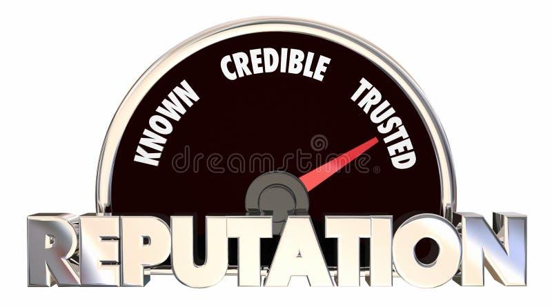 Mätning för trovärdighet för anseendeförtroenderespekt stock illustrationer
