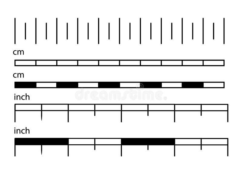 Mätningsskalalinjal eller metermätning för skalalängd och tumdiagram royaltyfri illustrationer