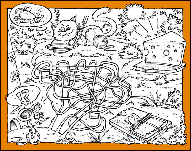 Mäuse-, Käse-, Katze-und Blockierlabyrinth vektor abbildung