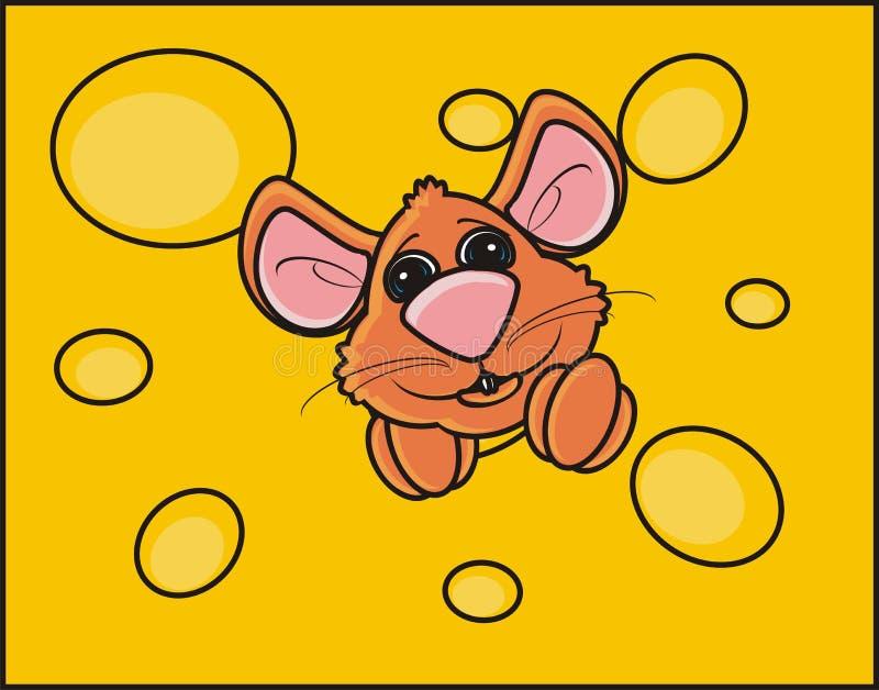 Mäuse schnüffeln das Spähen aus einem Stück Käse heraus stock abbildung