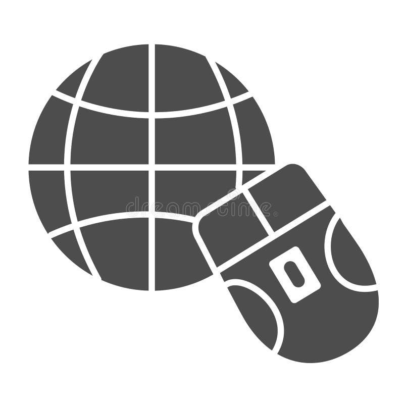 Mäuse- und der Kugelfeste Ikone Arbeit über die Internet-Vektorillustration lokalisiert auf Weiß Gehen Sie zum Netz Glyph-Artentw stock abbildung