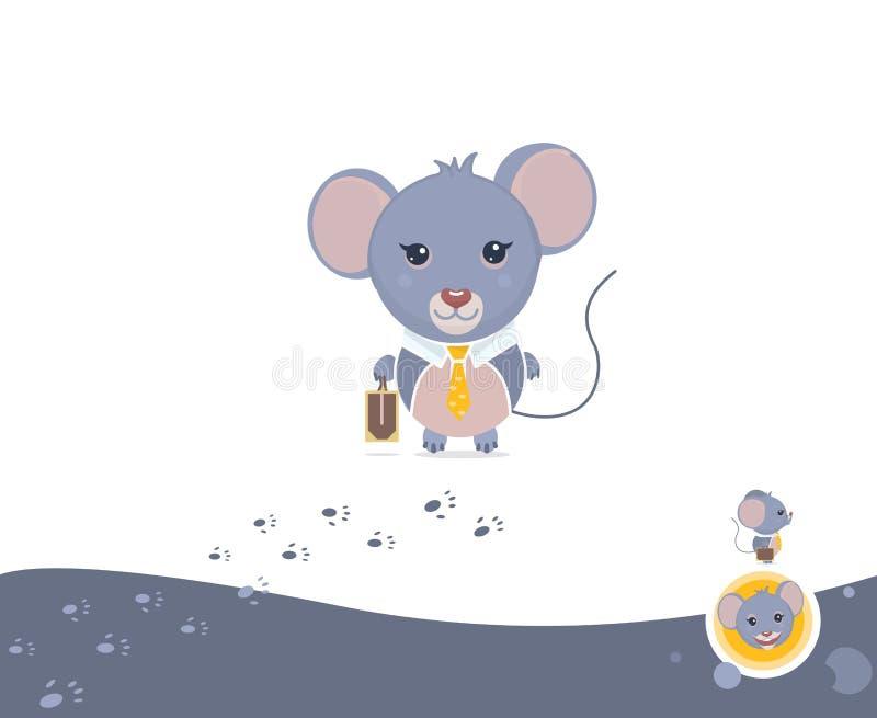 Mäusegeschäftsmann-Illustrationssatz Verschiedene Arten: Profil, volles Gesicht, Gefühl des Glückes und Spuren von Tatzen Flache  stock abbildung