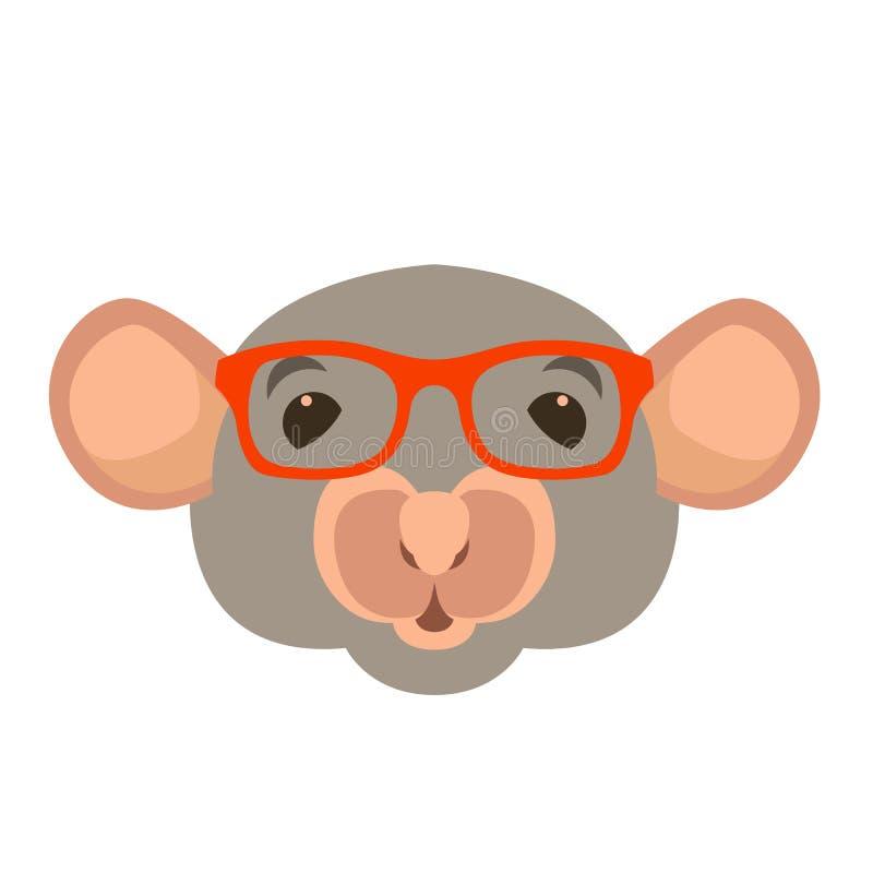 Mäusegesichts-Kopfgläser vector flache Art der Illustration lizenzfreie abbildung