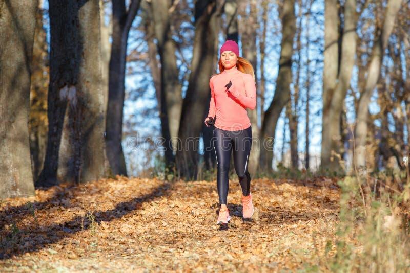 Młoda kobieta jogging na śladzie w jesień parku obraz stock