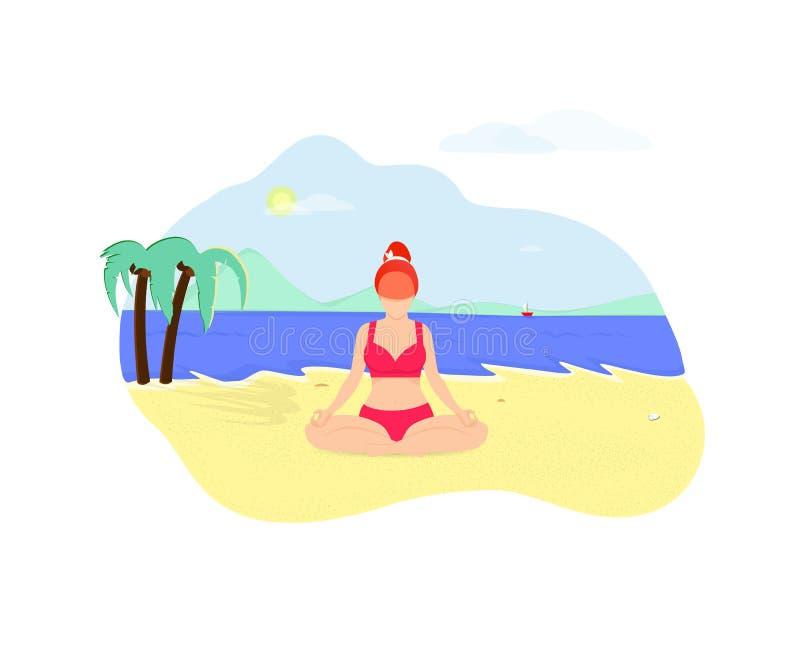 Młoda Kobieta Robi joga Asana na nadmorski plaży royalty ilustracja