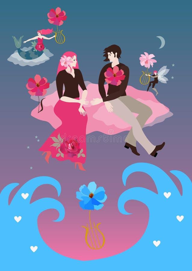 Młoda szczęśliwa para w miłości lata nad ocean falami rozciąga za each i siedzi na różowych chmurach - inny ręki ilustracja wektor