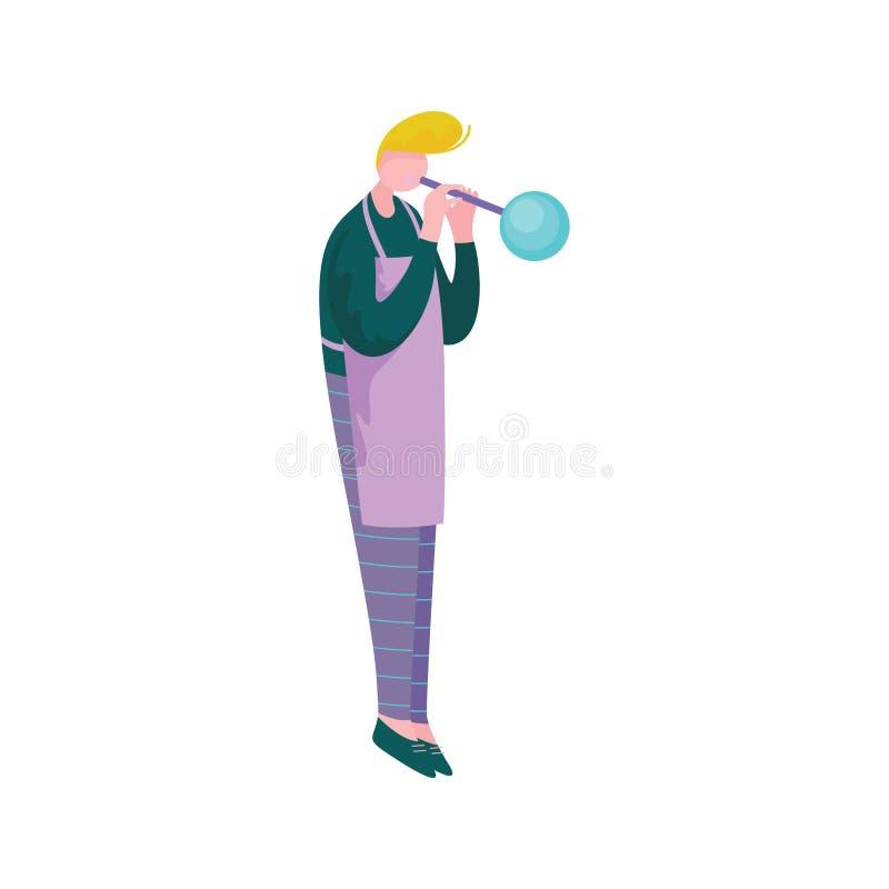 Młodego Człowieka Podmuchowy szkło, Męski Glassblower, charakter, hobby lub zawód wektoru ilustracja, Glassworker, ilustracji