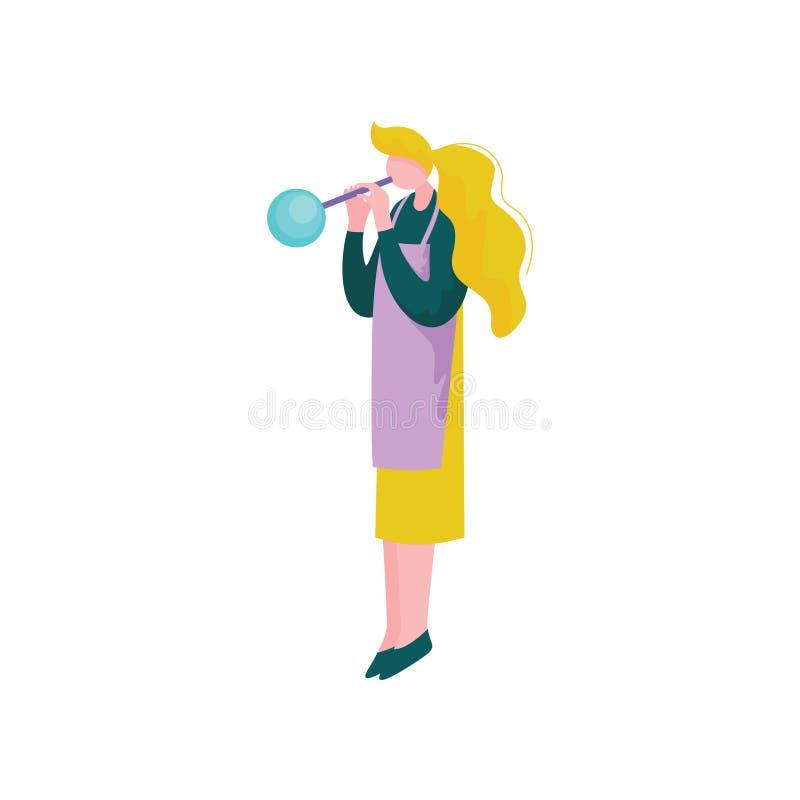 Młodej blondynki kobiety Podmuchowy szkło, wektor ilustracja, Żeńska Glassblower charakteru, hobby lub zawodu, ilustracja wektor