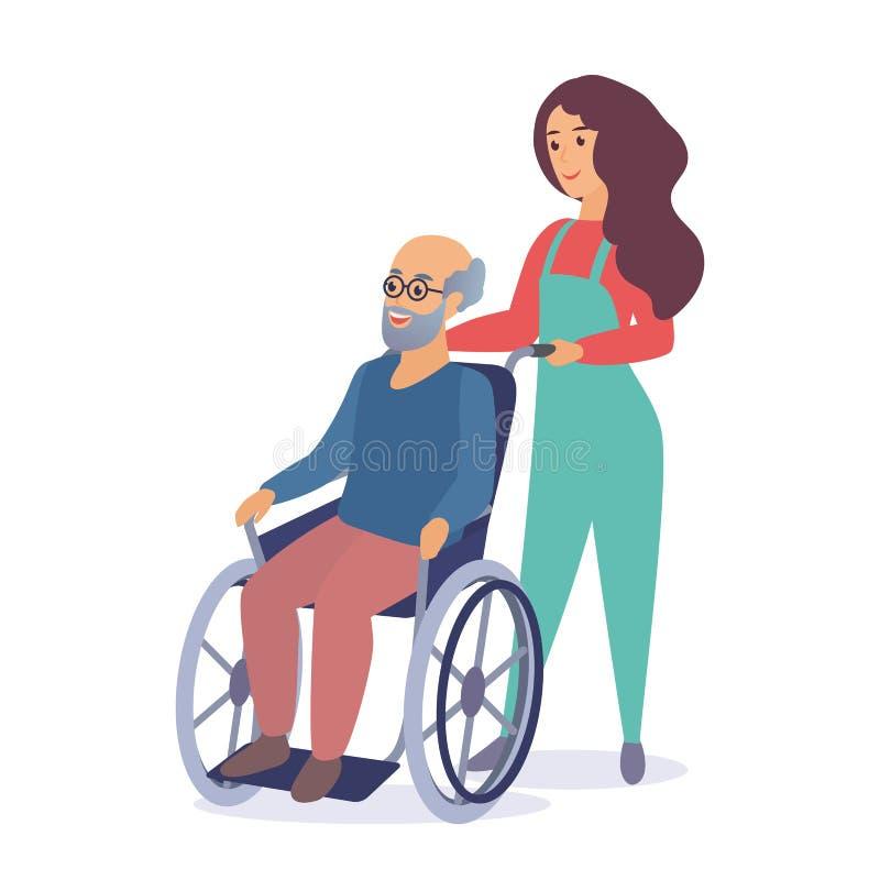 Młodej kobiety pracownik opieki społecznej spaceruje z starym starszym mężczyzną w wózek inwalidzki kreskówki wektoru ilustracji ilustracja wektor