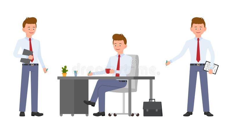 Młody życzliwy biurowy kierownik w formalnej odzieży obsiadaniu przy biurkiem, mienie notatkami i pastylką pisze, royalty ilustracja