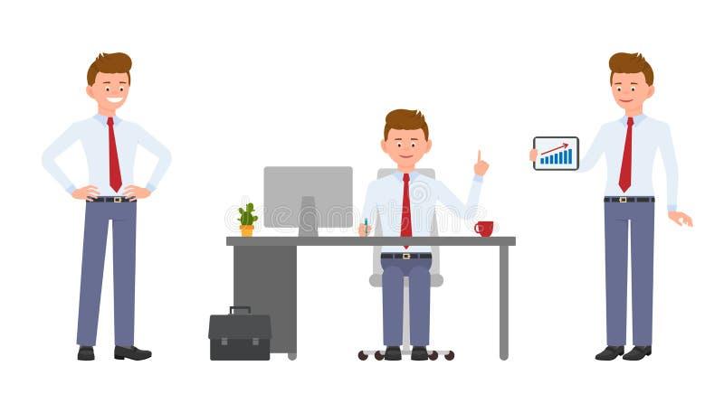 Młody życzliwy biurowy kierownik w formalnej odzieży obsiadaniu przy biurkiem, wskazujący palec, pokazuje infographics ilustracja wektor