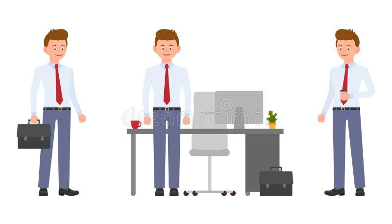 Młody życzliwy biurowy urzędnik stoi bezczynnie biurko w formalnej odzieży, trzymający kawę i teczkę royalty ilustracja