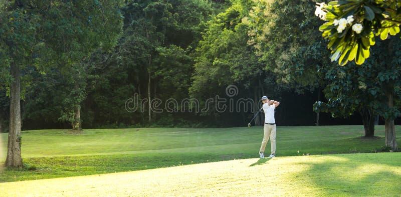 Młody Azjatycki mężczyzna bawić się golfa na pięknym naturalnym polu golfowym fotografia royalty free