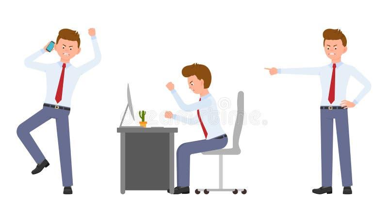 Młody biurowy kierownik gniewny, zaakcentowany przy biurkiem, obsiadanie, opowiada na telefonie ilustracji