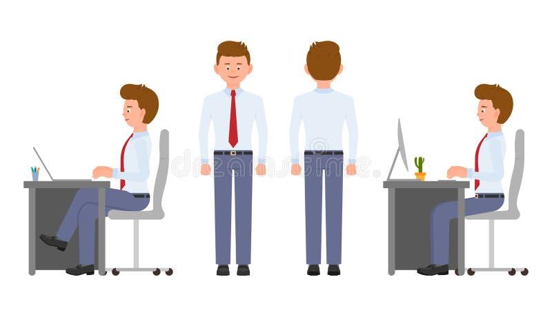 Młody biurowy kierownik pisze w formalnej odzieży obsiadaniu przy biurkiem, pisać na maszynie, ilustracja wektor
