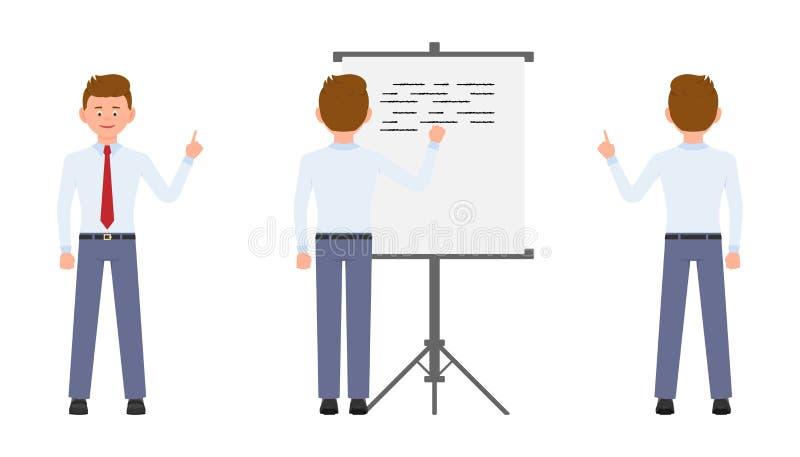 Młody biurowy kierownik wskazuje palec, pisać na flipchart, stoi od plecy ilustracja wektor