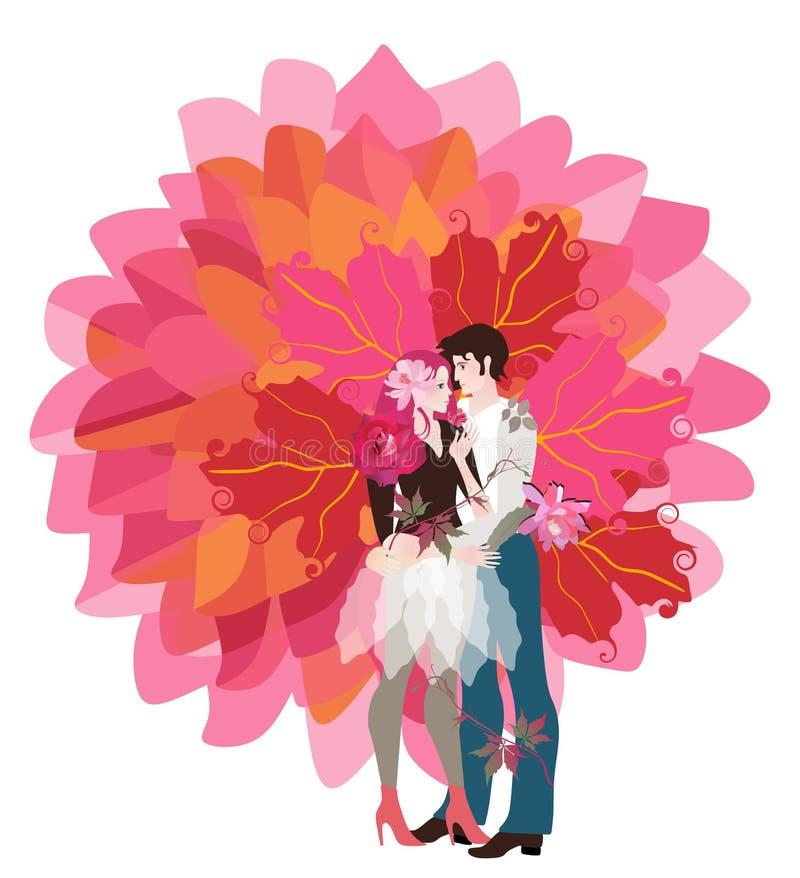 Młody chłopak i on dziewczyna ściska each inny tworzy bagażnika stylizowany drzewo życie z jaskrawymi pomarańczowymi liśćmi ilustracji
