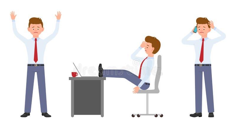 Młody pracownik w formalnej odzieży pozycji z smartphone, siedzi przy biurkiem z migreną royalty ilustracja