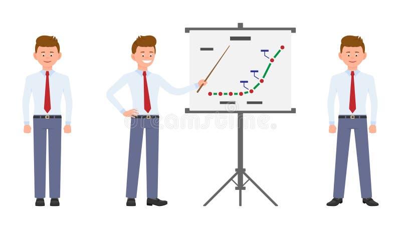 Młody przystojny biurowy mężczyzna stoi w formalnej odzieży robi prezentacji, ono uśmiecha się, ilustracja wektor