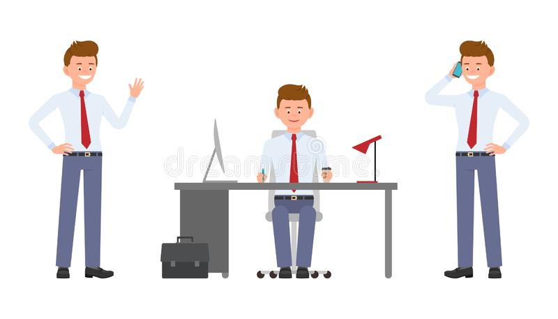 Młody szczęśliwy urzędnika obsiadanie przy biurkiem, falowanie cześć, opowiada na telefonie ilustracja wektor