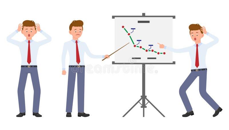 Młody urzędnik robi prezentacji szokującej, zaskakujący, zadziwiający, pod naciskiem ilustracja wektor
