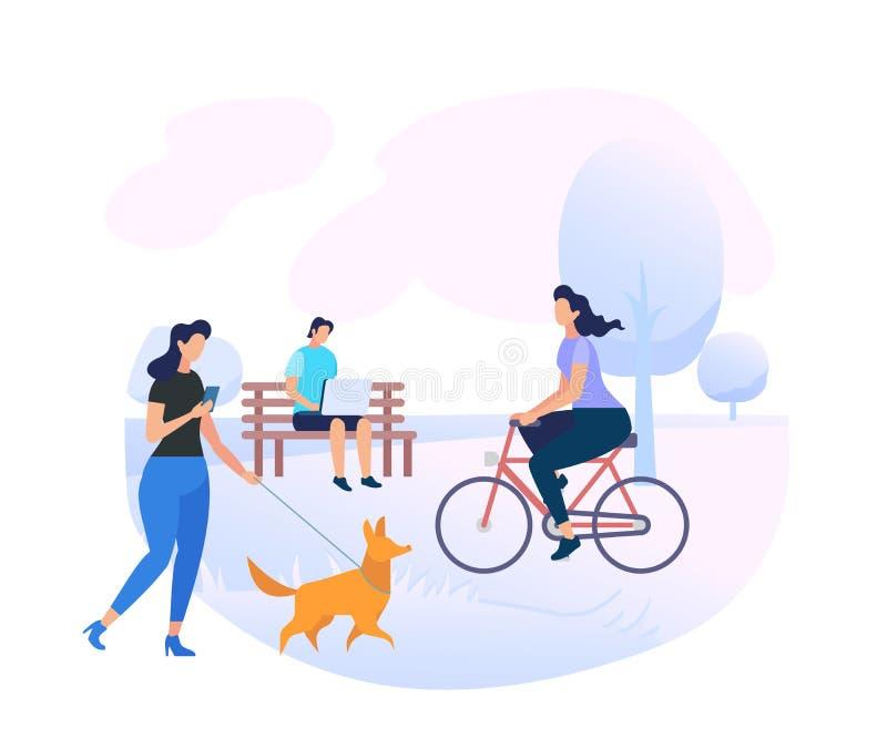 Młodzi Ludzie charakterów Relaksuje przy miasto parka terenem royalty ilustracja