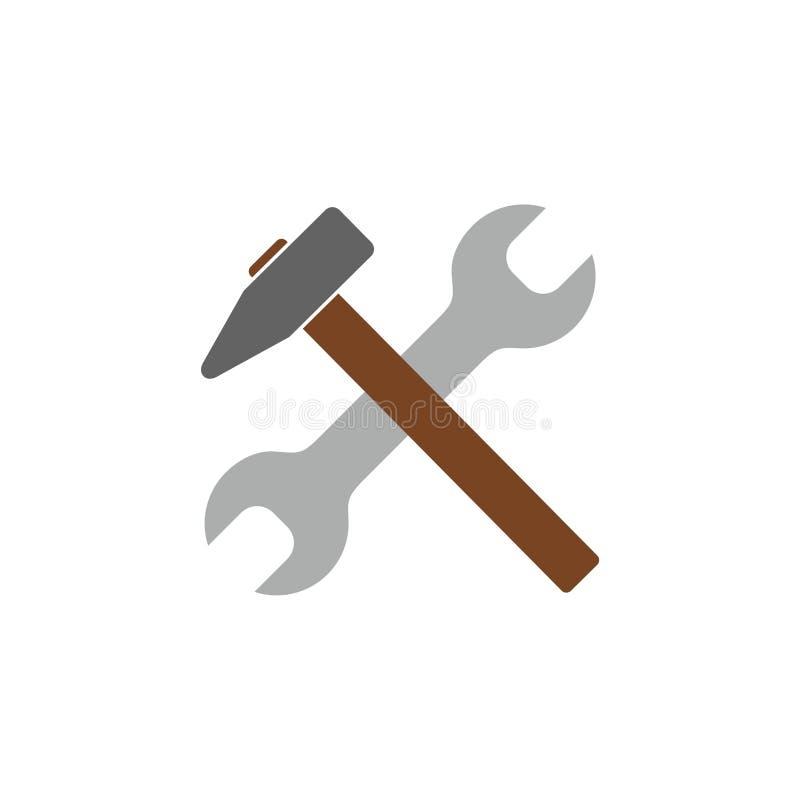 Młota i wyrwania naprawa wytłacza wzory płaską ikonę dla apps ilustracja wektor