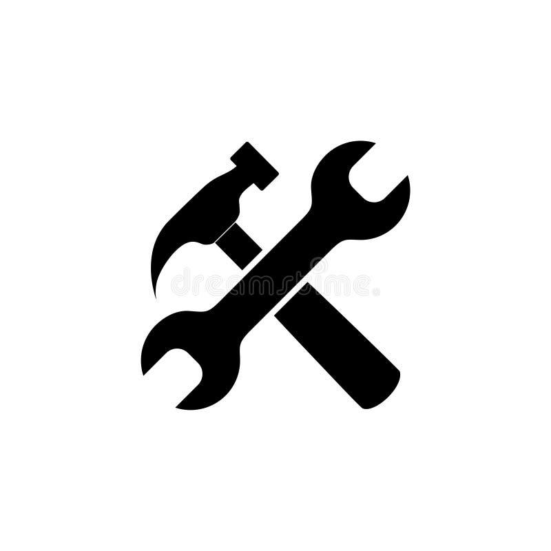 Młota i wyrwania naprawa wytłacza wzory płaską ikonę dla apps royalty ilustracja