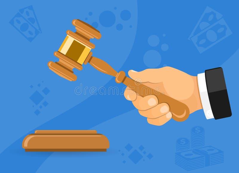 Młoteczkowy sędzia lub aukcja w ręce ilustracji