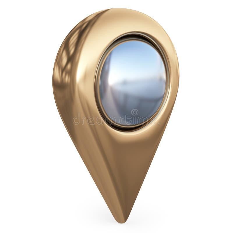 Målöversiktspekare GPS lokaliserar symbol; isolerad symbol 3D stock illustrationer