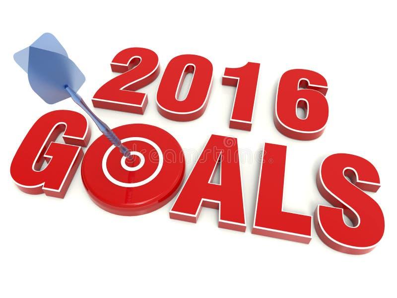 2016 mål royaltyfri illustrationer