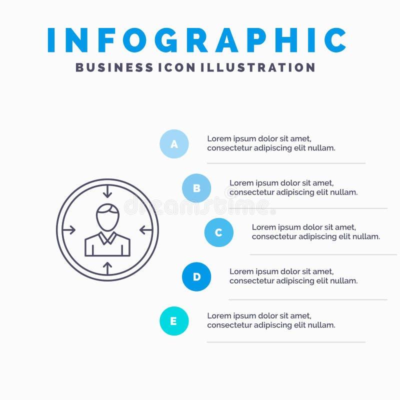 Mål anställd, timme, jakt som är personlig, resurser, meritförteckninglinje symbol med för presentationsinfographics för 5 moment stock illustrationer