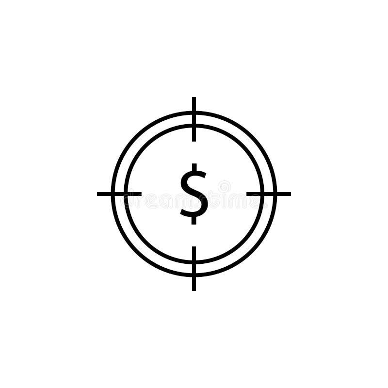 Mål dollarsymbol Beståndsdel av finansillustrationen Tecknet och symbolsymbolen kan användas för rengöringsduken, logoen, den mob vektor illustrationer