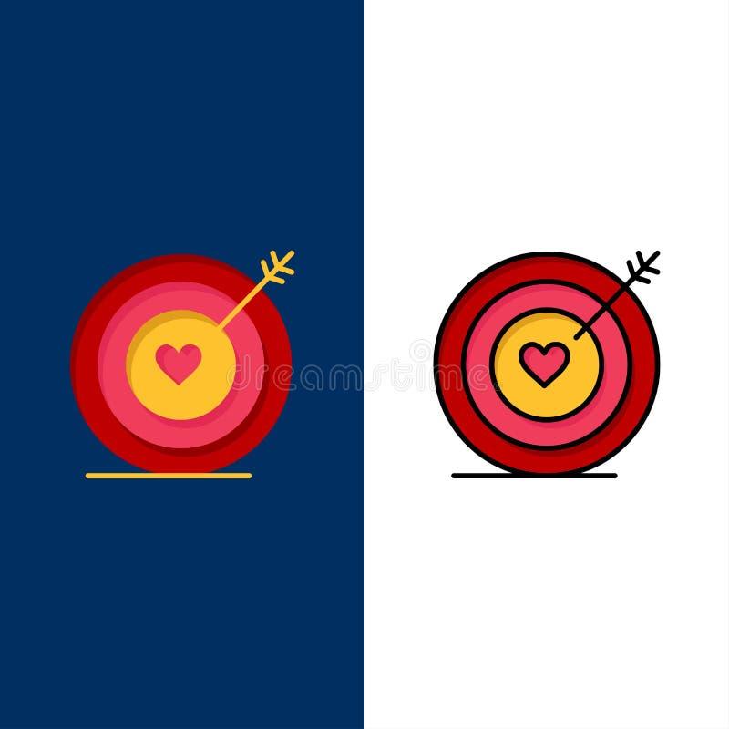 Mål förälskelse, hjärta, bröllopsymboler Lägenheten och linjen fylld symbol ställde in blå bakgrund för vektorn royaltyfri illustrationer