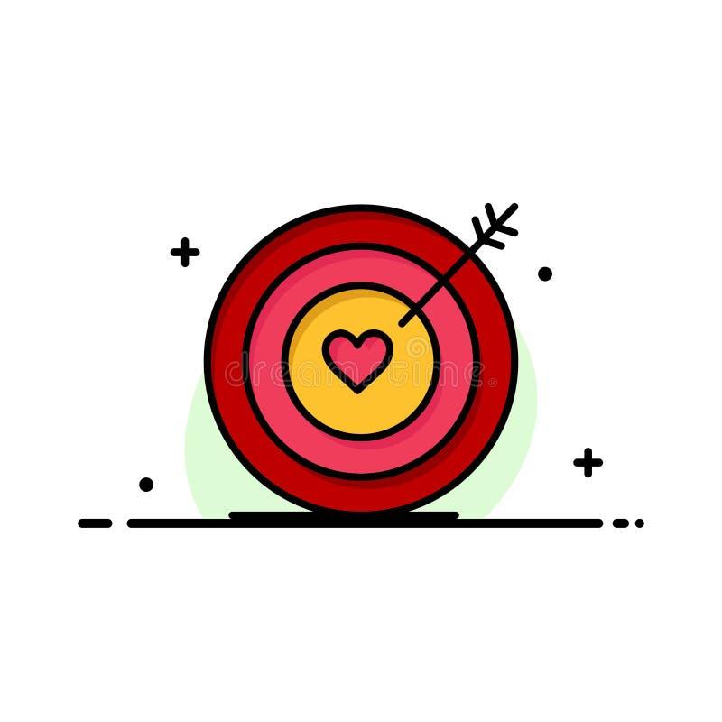 Mål förälskelse, hjärta, plan linje fylld mall för bröllopaffär för symbolsvektorbaner stock illustrationer
