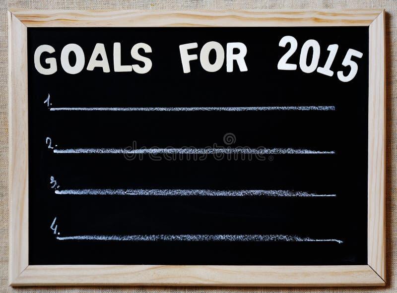 Mål för 2015 - det nya året planerar begrepp royaltyfria bilder