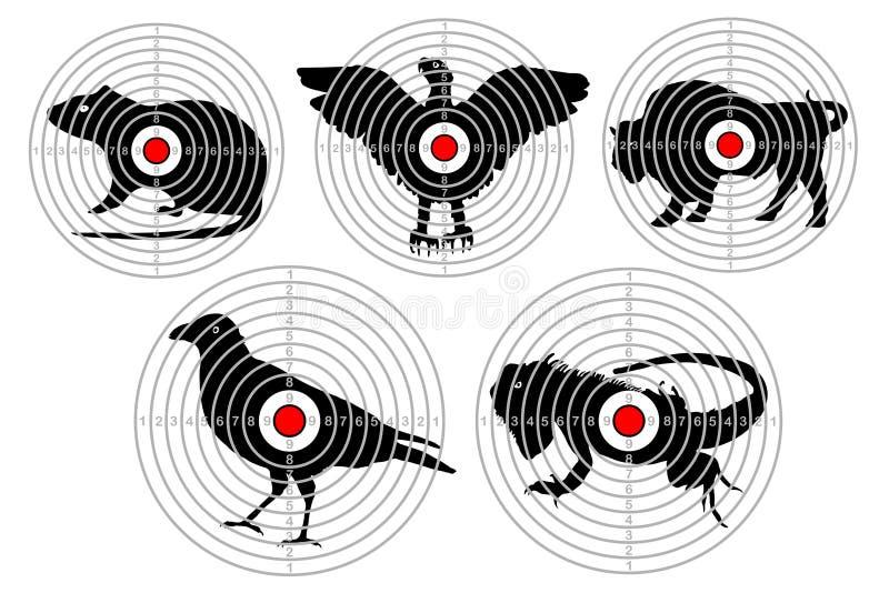 Mål för djur skytte Utbildande forsjakt vektor för set för tecknad filmhjärtor polar vektor illustrationer