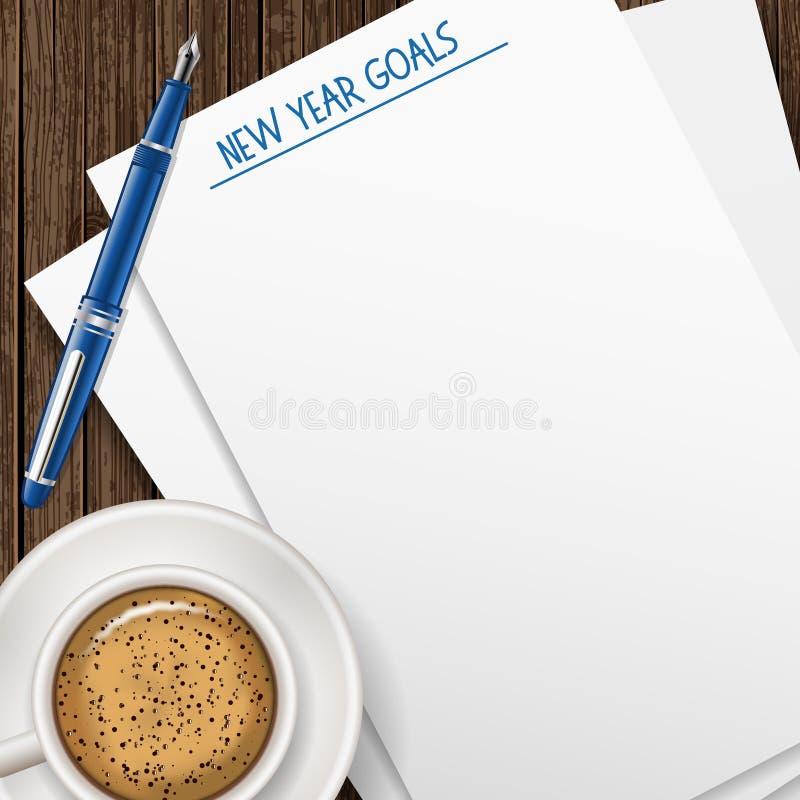 Mål för nytt år Papper, penna och kaffe på trätabellen stock illustrationer