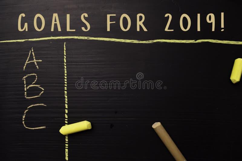 Mål för 2019! skriftligt med färgkrita Stöttat av extra service Svart tavlabegrepp arkivbilder