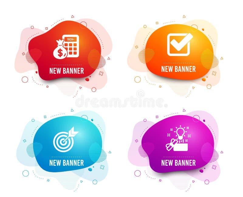 Mål-, finansräknemaskin och Checkboxsymboler Idérikt idétecken Beräkna pengar, godkänd fästing, uppsätta som mål vektor royaltyfri illustrationer