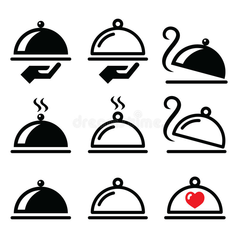 Mål matställen, matuppläggningsfatsymboler ställde in royaltyfri illustrationer