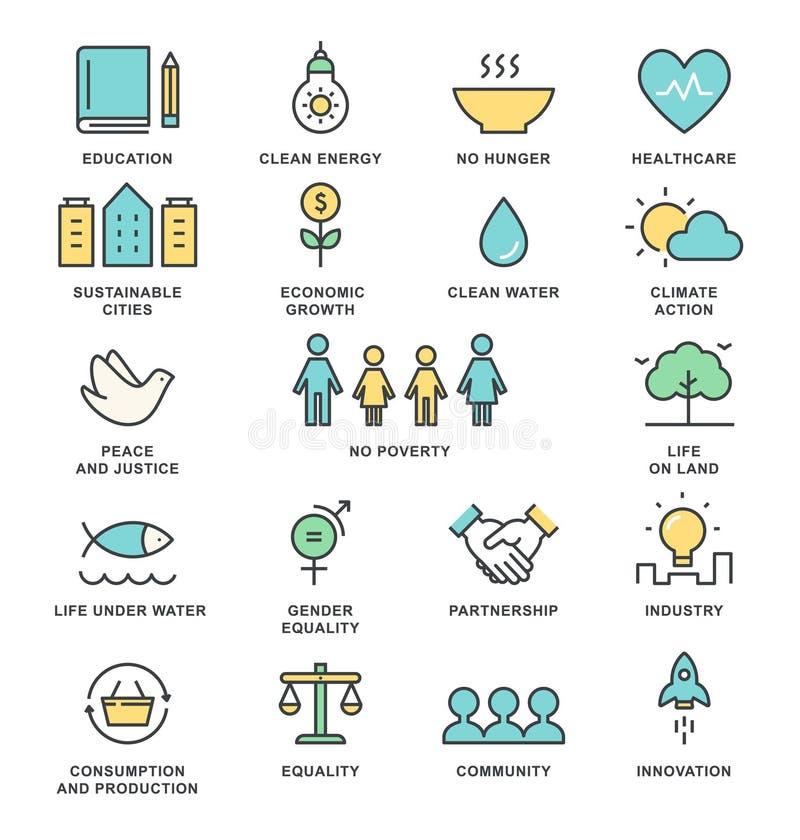 Mål och hållbar bosatt linje Art Vector Icons för hållbar utveckling för genomförandebegrepp stock illustrationer