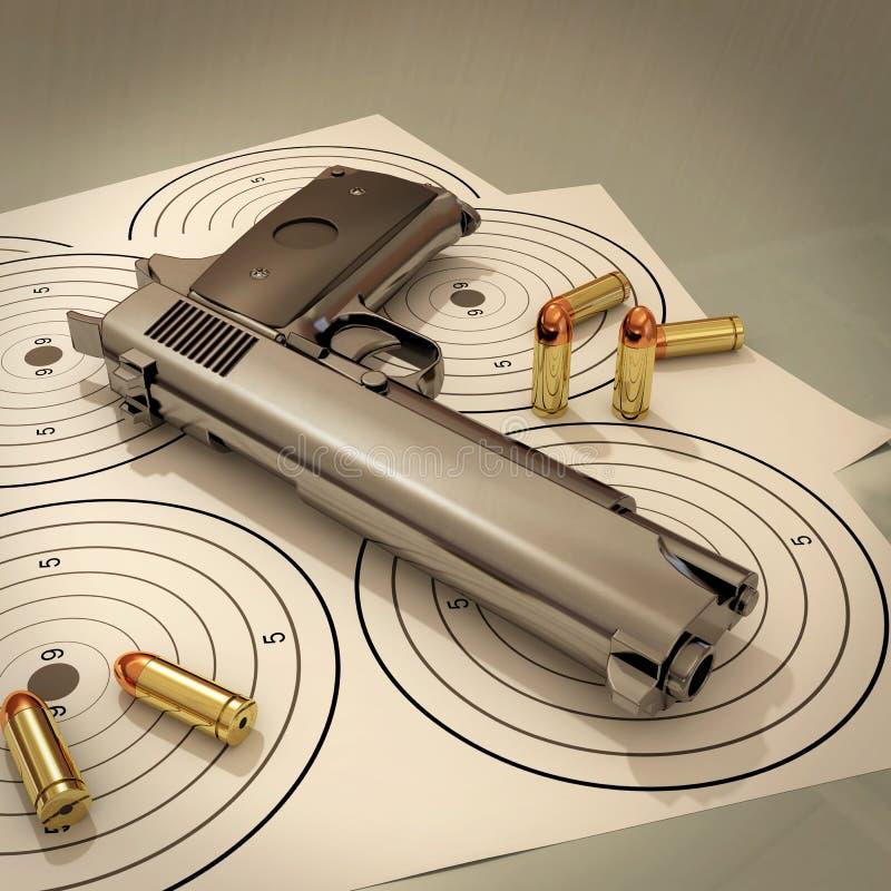 Mål och vapen stock illustrationer
