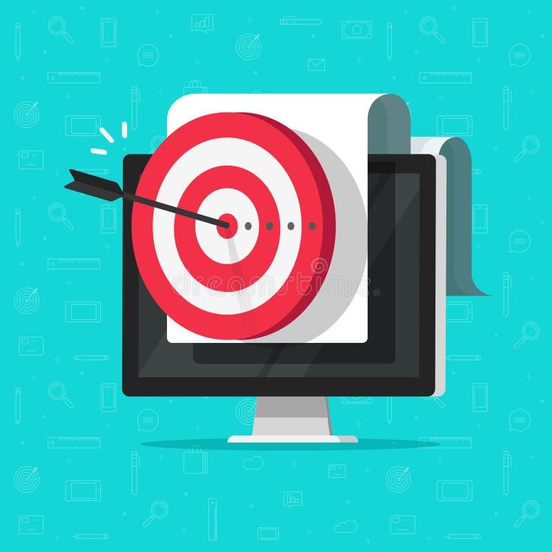 Mål på vektorn för datorskärm, framgångaffärssyftet eller målet, digital marknadsföringsbefordran, bra online-aktion eller stock illustrationer