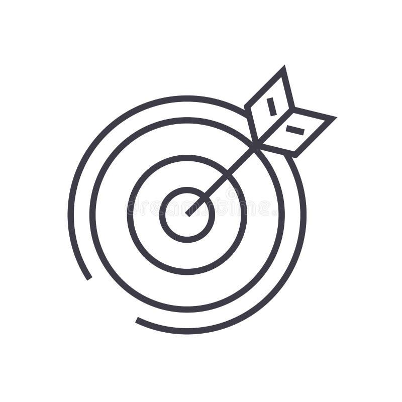 Mål pilvektorlinje symbol, tecken, illustration på bakgrund, redigerbara slaglängder royaltyfri illustrationer