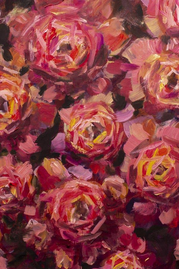 Måla blommakanfasbakgrund - närbildblomma för olje- målning Makro för closeup för pion för stora röda violetblommor rosa på kanfa royaltyfria bilder