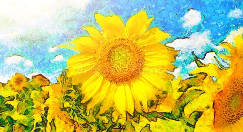 Måla blomman Bakgrund av soliga solrosor vektor illustrationer