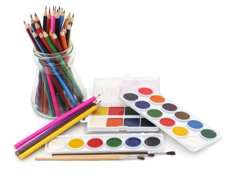 måla blyertspennor royaltyfri fotografi