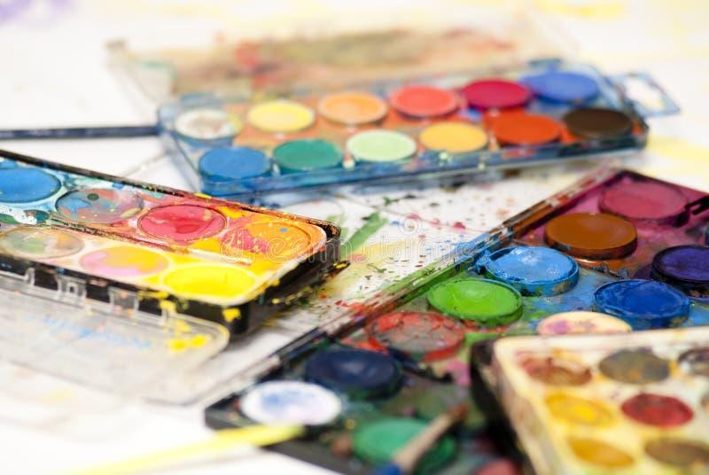 måla den set vattenfärgen royaltyfria bilder