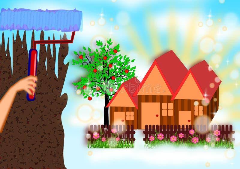 Måla det nya dröm- huset vektor illustrationer
